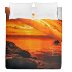 Alabama Sunset Dusk Boat Fishing Duvet Cover Double Side (queen Size)