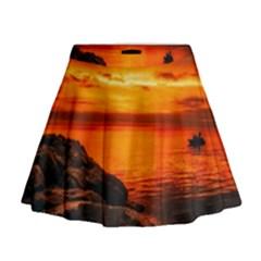 Alabama Sunset Dusk Boat Fishing Mini Flare Skirt