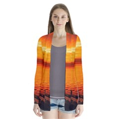 Alabama Sunset Dusk Boat Fishing Drape Collar Cardigan