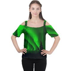 Aurora Borealis Northern Lights Cutout Shoulder Tee
