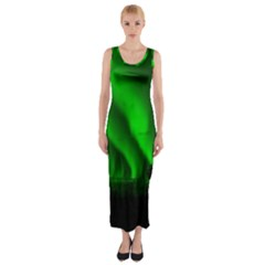 Aurora Borealis Northern Lights Fitted Maxi Dress