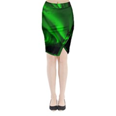 Aurora Borealis Northern Lights Midi Wrap Pencil Skirt
