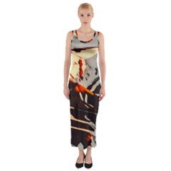 Iceland Landscape Mountains Snow Fitted Maxi Dress