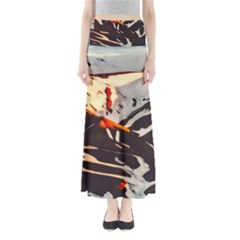 Iceland Landscape Mountains Snow Full Length Maxi Skirt