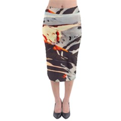 Iceland Landscape Mountains Snow Midi Pencil Skirt