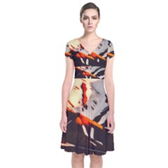 Iceland Landscape Mountains Snow Short Sleeve Front Wrap Dress