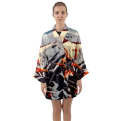Iceland Landscape Mountains Snow Long Sleeve Kimono Robe