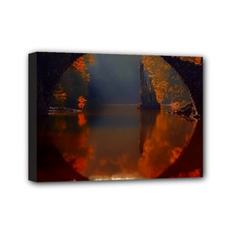 River Water Reflections Autumn Mini Canvas 7  X 5