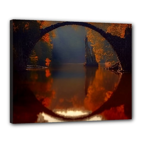 River Water Reflections Autumn Canvas 20  X 16