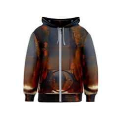River Water Reflections Autumn Kids  Zipper Hoodie