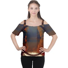 River Water Reflections Autumn Cutout Shoulder Tee