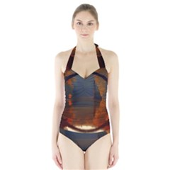 River Water Reflections Autumn Halter Swimsuit