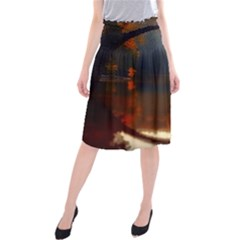 River Water Reflections Autumn Midi Beach Skirt