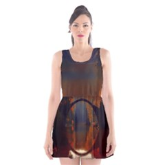 River Water Reflections Autumn Scoop Neck Skater Dress