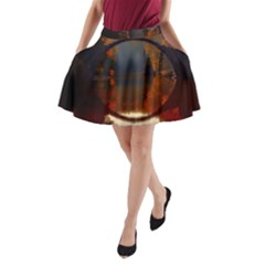 River Water Reflections Autumn A Line Pocket Skirt