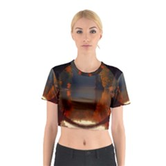 River Water Reflections Autumn Cotton Crop Top