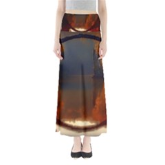 River Water Reflections Autumn Full Length Maxi Skirt