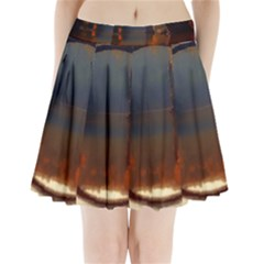 River Water Reflections Autumn Pleated Mini Skirt