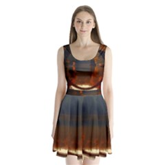 River Water Reflections Autumn Split Back Mini Dress
