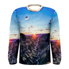 Iceland Landscape Mountains Stream Men s Long Sleeve Tee