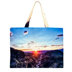 Iceland Landscape Mountains Stream Zipper Large Tote Bag