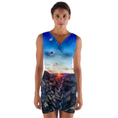 Iceland Landscape Mountains Stream Wrap Front Bodycon Dress