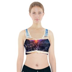 Iceland Landscape Mountains Stream Sports Bra With Pocket