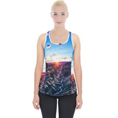 Iceland Landscape Mountains Stream Piece Up Tank Top
