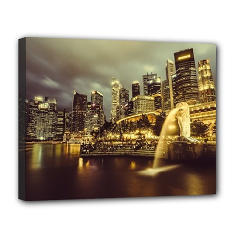 Singapore City Urban Skyline Canvas 14  X 11