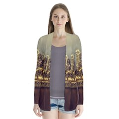 Singapore City Urban Skyline Drape Collar Cardigan