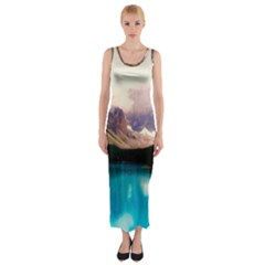 Austria Mountains Lake Water Fitted Maxi Dress