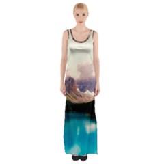 Austria Mountains Lake Water Maxi Thigh Split Dress