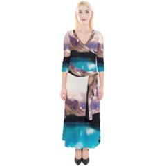 Austria Mountains Lake Water Quarter Sleeve Wrap Maxi Dress
