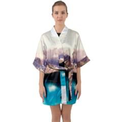 Austria Mountains Lake Water Quarter Sleeve Kimono Robe