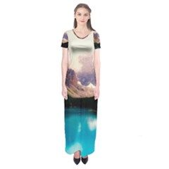 Austria Mountains Lake Water Short Sleeve Maxi Dress