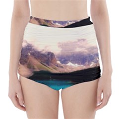 Austria Mountains Lake Water High Waisted Bikini Bottoms