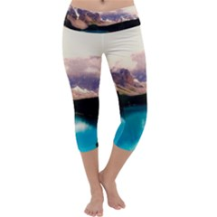Austria Mountains Lake Water Capri Yoga Leggings