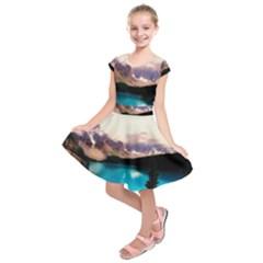 Austria Mountains Lake Water Kids  Short Sleeve Dress