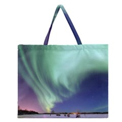 Aurora Borealis Alaska Space Zipper Large Tote Bag