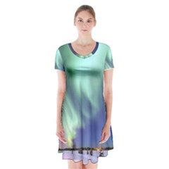 Aurora Borealis Alaska Space Short Sleeve V Neck Flare Dress