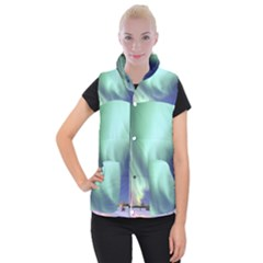 Aurora Borealis Alaska Space Women s Button Up Puffer Vest