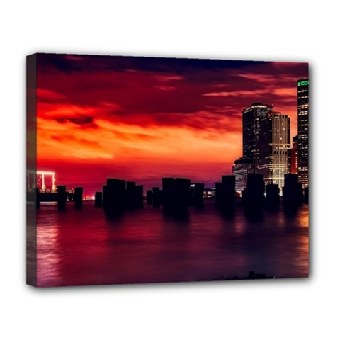 New York City Urban Skyline Harbor Canvas 14  X 11