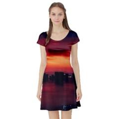 New York City Urban Skyline Harbor Short Sleeve Skater Dress