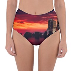 New York City Urban Skyline Harbor Reversible High Waist Bikini Bottoms