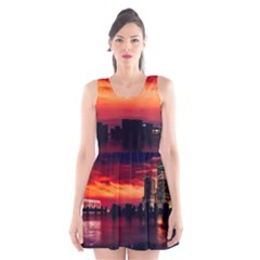 New York City Urban Skyline Harbor Scoop Neck Skater Dress