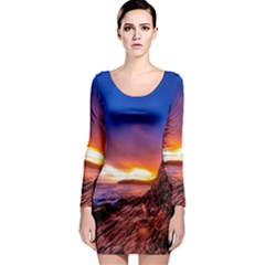 South Africa Sea Ocean Hdr Sky Long Sleeve Bodycon Dress