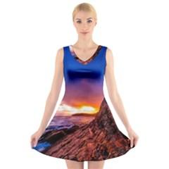 South Africa Sea Ocean Hdr Sky V Neck Sleeveless Skater Dress