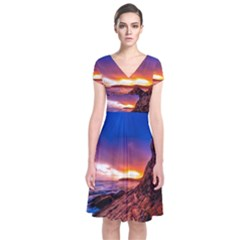 South Africa Sea Ocean Hdr Sky Short Sleeve Front Wrap Dress