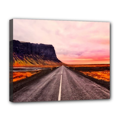 Iceland Sky Clouds Sunset Canvas 14  X 11