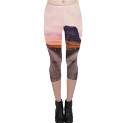 Iceland Sky Clouds Sunset Capri Leggings
